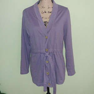 MERONA SLATE BLUE TIE BUTTON FRONT CARDIGAN SZ XL